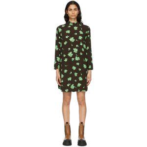 GANNI Brown Crepe Printed Mini Dress  - 897 Mole - Size: Large