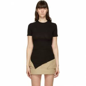 Andersson Bell SSENSE Exclusive Black Asymmetric Ruched Cindy T-Shirt  - Black - Size: Extra Small