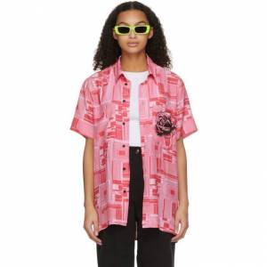 SSENSE WORKS SSENSE Exclusive Jeremy O. Harris Pink Print Rose Bowling Shirt  - Pink Name Print - Size: Extra Small