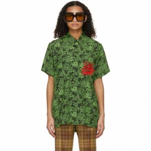 SSENSE WORKS SSENSE Exclusive Jeremy O. Harris Black and Green Rose Bowling Shirt  - Green/Black - Size: Extra Small