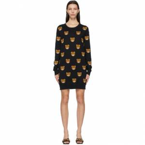 Moschino Black Knitted Allover Teddy Dress  - V3555 Black - Size: Extra Large
