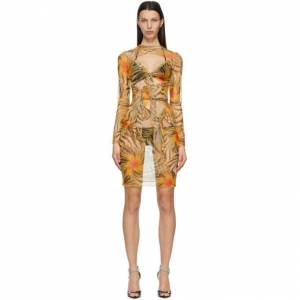 KIM SHUI SSENSE Exclusive Orange Mesh Multi Tie Dress  - New Org/Brw - Size: Extra Small