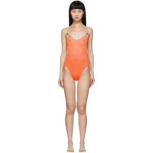 Heron Preston Orange Mesh One-Piece Swimsuit  - Orange - Size: 30