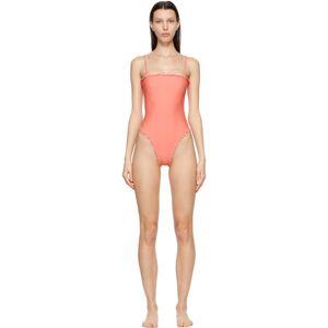 Sherris Pink Ruffle Tank One-Piece Swimsuit  - Peach - Size: 36