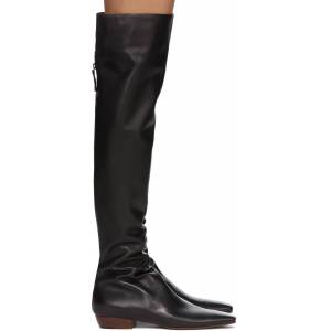 The Row Black Slouch Flat Tall Boots  - BLK Black - Size: 35