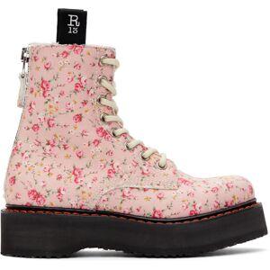R13 Pink Floral Stacked Platform Boots  - Pink Floral - Size: 36