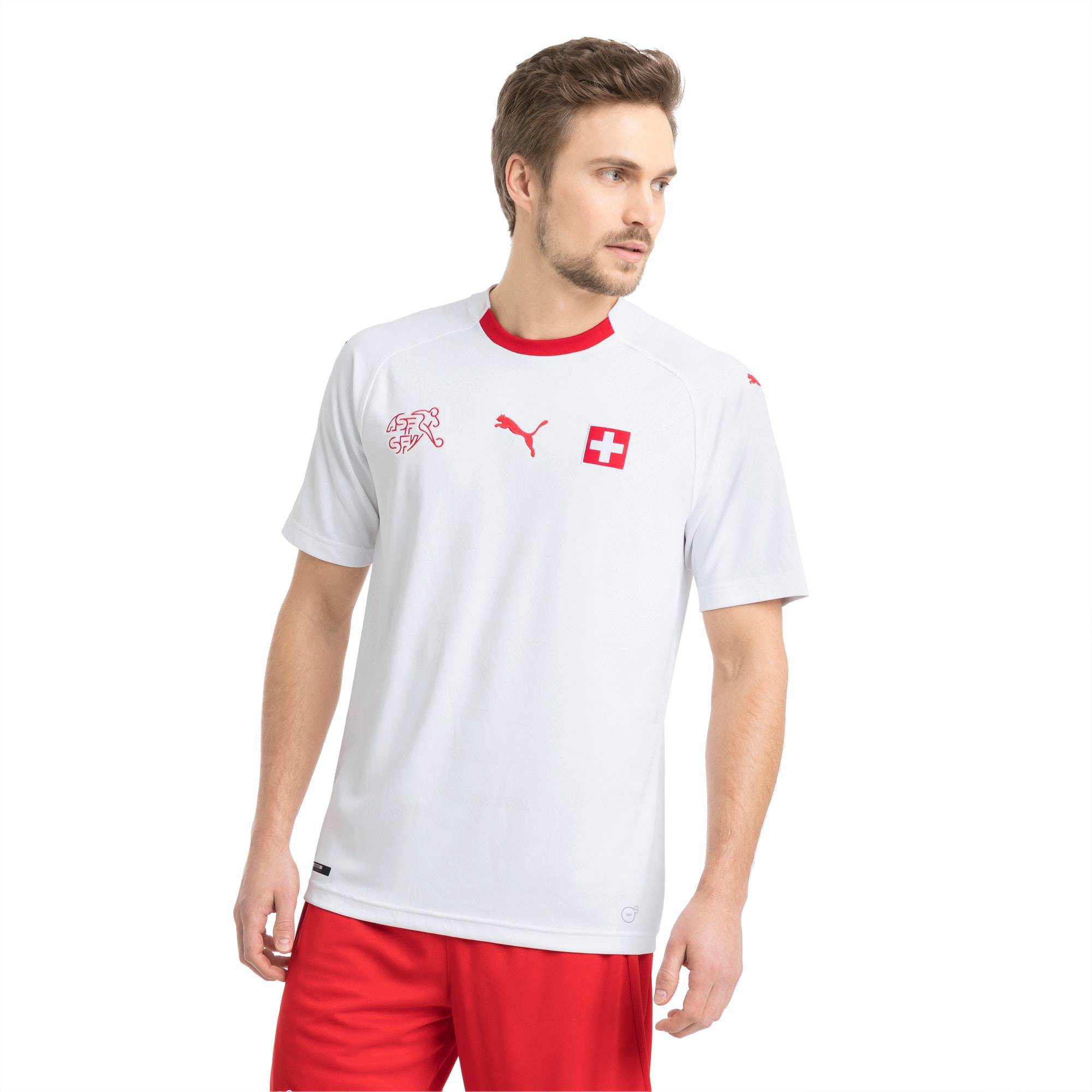Puma Switzerland Men's Away Replica Jersey, White/Red, size X Large, Clothing