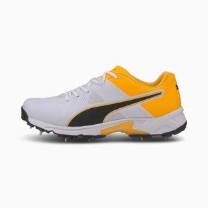Puma Spike 19.1 Men's Cricket Shoes, White/Black/Orange, size 8.5, Shoes