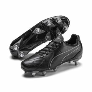 Puma King Hero H8 Men's Rugby Boots, Black/Aged Silver, size 11, Shoes