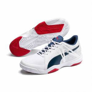 Puma Explode Eh 3 Men's Handball Shoe Sneakers, White/Denim/Risk Red, size 6, Shoes