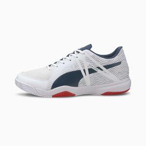 Puma Explode Eh 3 Men's Handball Shoe Sneakers, White/Denim/Risk Red, size 6.5, Shoes