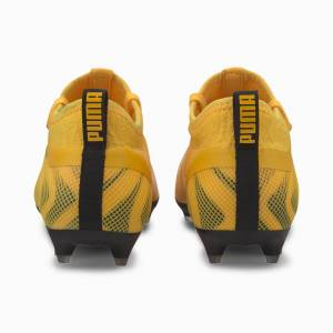 Puma One 20.2 FG/AG Youth Football Boots, Yellow/Black/Orange, size 13.5, Shoes