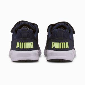 Puma NRGY Comet Preschool Trainers, Peacoat/Sharp Green/White, size 12, Shoes
