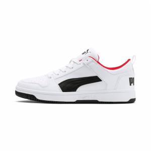 Puma Men's PUMA Rebound Lay Up Lo Sl Trainers,  White/Black/High Risk Red, size 8.5, Shoes