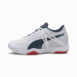 Puma Explode Eh 3 Youth Shoes, White/Denim/Risk Red, size 5.5, Shoes