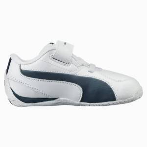 Puma BMW Motorsport Drift Cat 5 Leather Babies' Trainers, White/Blue, size 13, Shoes