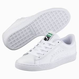 Puma Basket Classic Kids' Trainers, White, size 3, Shoes
