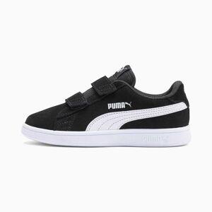 Puma Smash V2 Suede Kids' Trainers, Black/White, size 2, Shoes