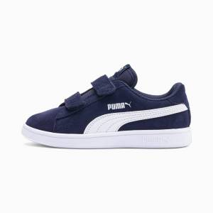 Puma Smash V2 Suede Kids' Trainers, Peacoat/White, size 1.5, Shoes