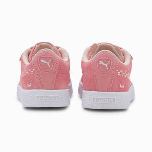 Puma Suede Monster Family Kids' Trainers, Peony/White, size 1.5, Shoes