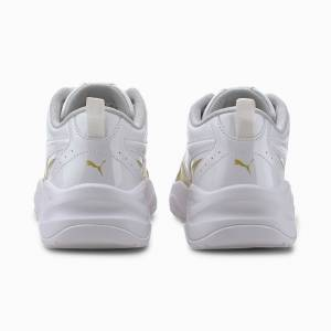 Puma Cilia Patent Youth Trainers, White/Gold/Grey Violet, size 5.5, Shoes