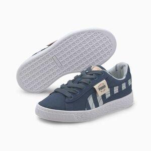 Puma Basket Canvas T4C Kids' Trainers, Dark Denim/Plein Air, size 1.5, Shoes