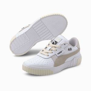 Puma x Selena Gomez Cali Lthr Suede Kids' Girls' Trainers, White/Silver Grey, size 1.5, Shoes