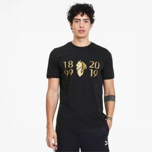 Puma AC Milan 120Th Anniversary Men's T-Shirt,  Black/Victory Gold, size 2X Large, Clothing