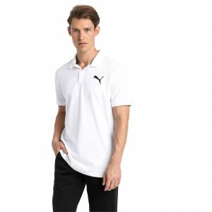 Puma Essential Short Sleeve Men's Polo Shirt, White/Cat, size Medium, Clothing