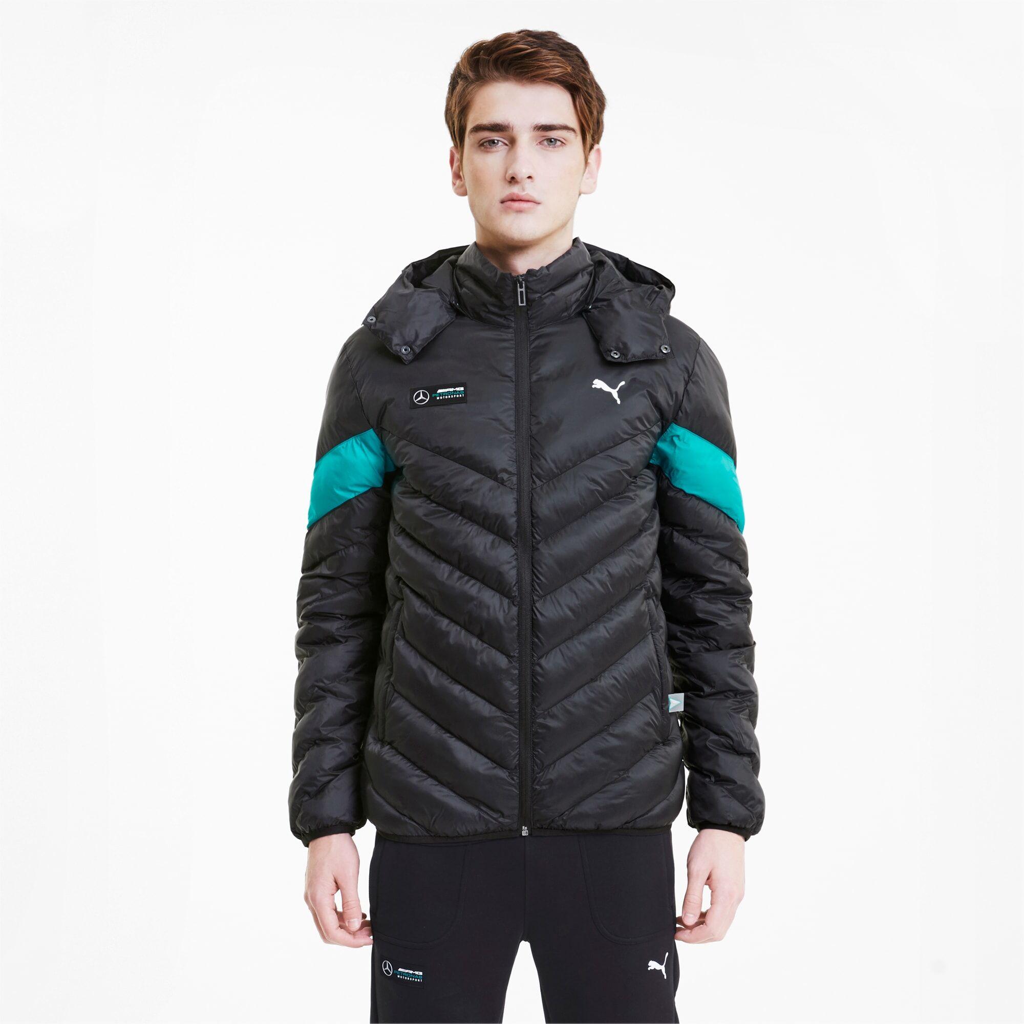 Puma Mercedes MCS Ecolite Men's Down Jacket, Black, size Medium, Clothing