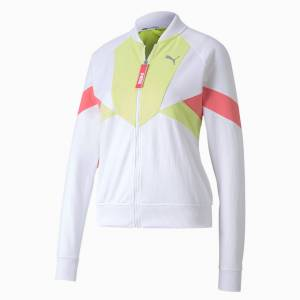 Puma Last Lap Tricot Women's Track Jacket, White/Sunny Lime, size Medium, Clothing