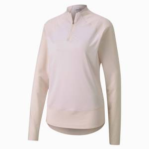 Puma Mesh 1/4 Zip Women's Golf Pullover Top, Rosewater, size Small, Clothing