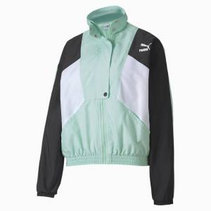Puma Tailored For Sport Woven Women's Track Jacket, Mist Green, size Medium, Clothing