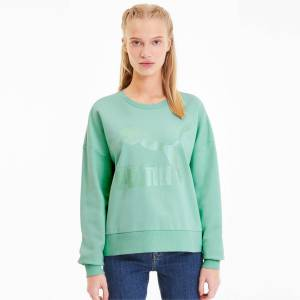 Puma Classics Logo Metallic Crew Women's Sweater Shirt, Mist Green/Metallic, size Medium, Clothing