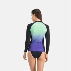 Puma Swim Women's Gradient Long Sleeve Rash Guard Shirt, Mint, size Medium, Clothing
