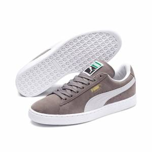 Puma Men's PUMA Suede Classic+ Trainers, Steeple Grey/White, size 5.5, Shoes