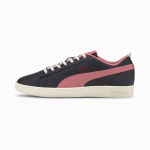 Puma Smash V2 Leather Women's Trainers, Black/Foxglove/Burgundy, size 6.5, Shoes