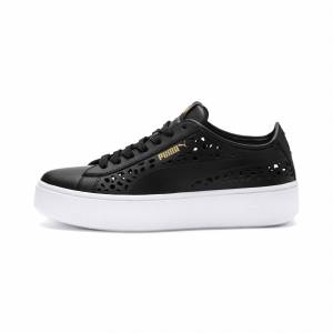 Puma Vikky Stacked Laser Cut Women's Trainers,  Black, size 2.5, Shoes