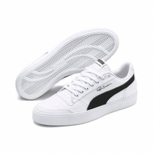 Puma Women's PUMA Ralph Sampson Vulcanised Canvas Trainers, White/Black/White, size 5.5, Shoes