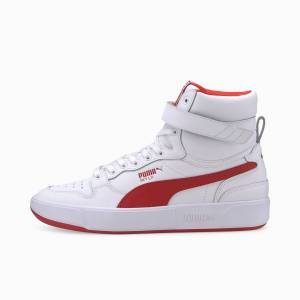 Puma Women's PUMA Sky Lx Mid Athletic Trainers,  White/High Risk Red, size 10, Shoes