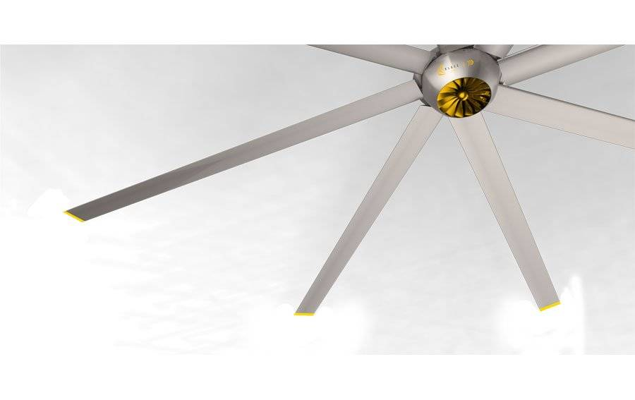 KlassFan DC Raptor HVLS RTDC12 12ft. High efficiency industrial ceiling fan. Low power usage and high air volume. coverage of 350 sqm