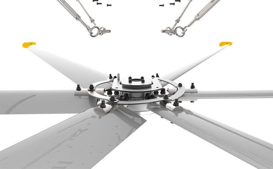 KlassFan HVLS AC Stator OM-KQ-6E 220V. Industrial ceiling fan 20ft/6.1m. Ultraefficient desing 1230sqm coverage.