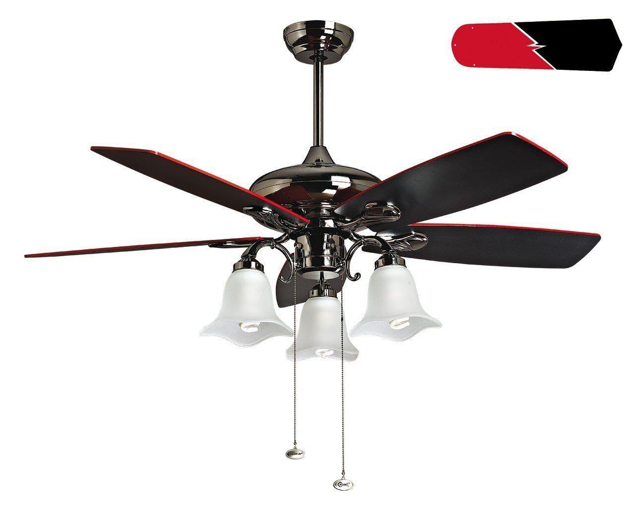 KlassFan RedWin from Purline By KlassFan a reversible black nickel-plated ceiling fan,black/red blades, with led light