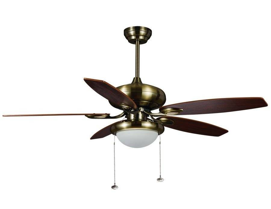 """KlassFan modern ceiling fan brown 122cm/48"""" with remote control, lighting and bifacial blades wenge and beech."""