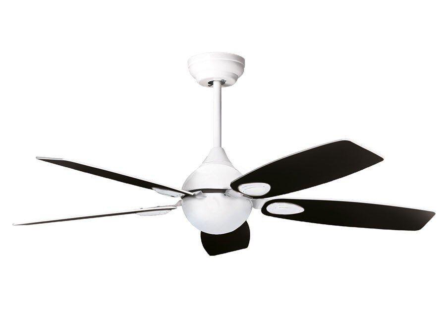 KlassFan Mistral by Purline By KlassFan a reversible black nickel-plated ceiling fan with ultra white design blades.