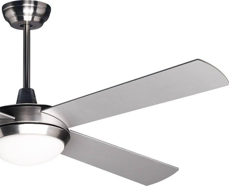 """KlassFan Powerful modern ceiling fan 132cm/51.9"""" chrome and reversable  blades white / gray remote control and led"""