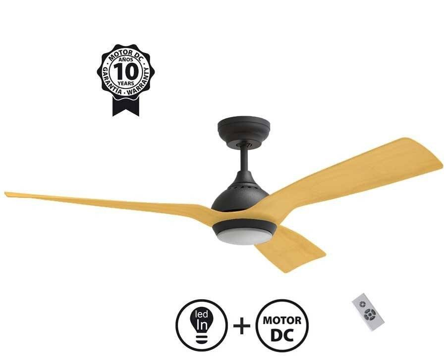 """KlassFan Ceiling Fan DC Motor, 132 Cm/ 51.9"""", Ultra Quiet, Klassfan Waterwind,  with LED Light"""