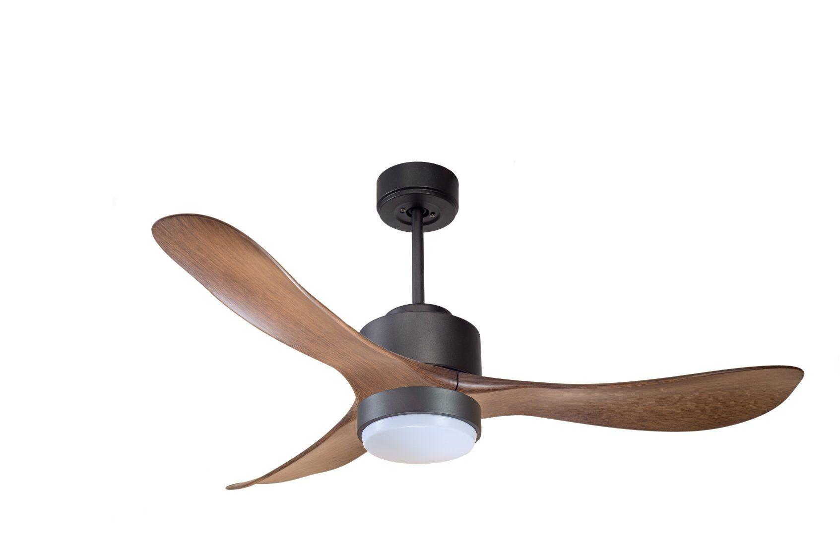KlassFan Modulo by KlassFan - DC Ceiling Fan with Light Black and wood ideal for 25 to 40 m² KL_DC1_P3W_L1Bk