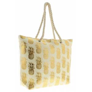 Wynsors Ladies Gold Pineapple Print Beach Bag  - Gold - Size: One Size