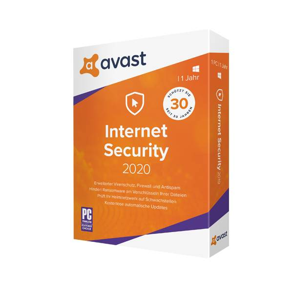 Avast Internet Security 2020 including upgrade to Premium Security 1 Device 1 Year